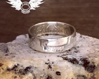 1934 to 1964 US quarter coin ring 90% silver