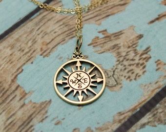 Long Rose Compass Necklace in Bronze and 14K Gold Filled