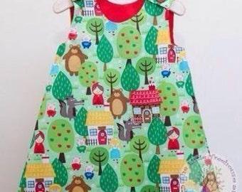 Girls Dress - Girls clothing - Kitsch Girls Pinafore Dress - Teaparty Dress - Baby Girls 1st Birthday Party Dress - Gift for Granddaughter