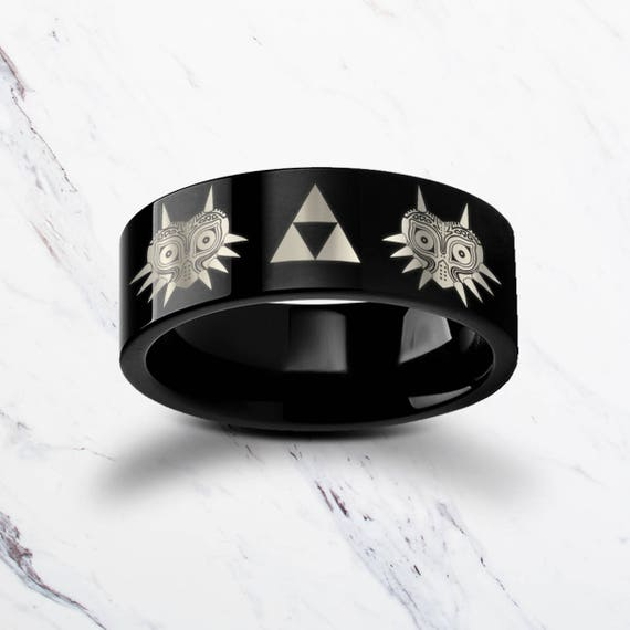 Engraved The Legend of Zelda Majora's Mask Triforce Black Tungsten Ring Flat Polished Finish - 4mm to 12mm - Lifetime Size Exchanges