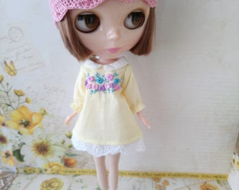 blythe dress blouse for pullip Neo blythe licca dal shibajuku hand embroidery clothes outfit clothing 1/6 scale vintage style