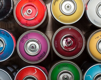 Graffiti Spray Paint Cans Art Print Wall Decor Image Self-Adhesive - Wallpaper Sticker