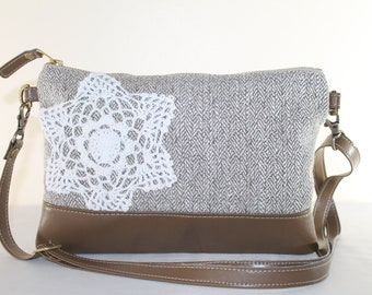 Beige Brown Herringbone White Doily Clutch n Crossbody Remove Strap Vegan BAg