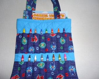 PJ Masks Crayon Bag/ Coloring bag/Activity bag.  Comes with a Daniel Tiger coloring book and crayola crayons