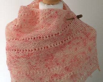 Hand knitted shawl with hand dyed lace weight yarn