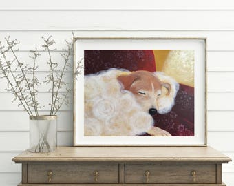 Warmth, Digital download-only image, Sleepy dog painting, Printable art, Handmade, All the proceeds will be donated to rescue organizations