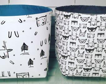 Fabric Storage Bins / Woodland Animals / Storage boxes / Toy storage / Playroom / House Warming / New Home Gift / Nappy Storage