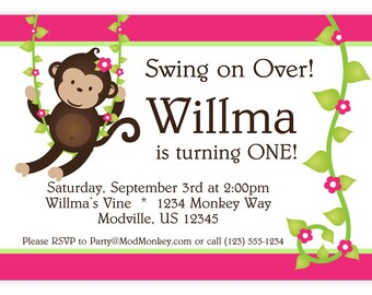 Mod Monkey Invitation - Pink and Green Stripes and Flower Vine Girl Mod Monkey Personalized Birthday Party Invite - a Digital Printable File