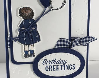 Birthday Greetings, Girl, Balloons, Happy Birthday, Child, card, stampin up