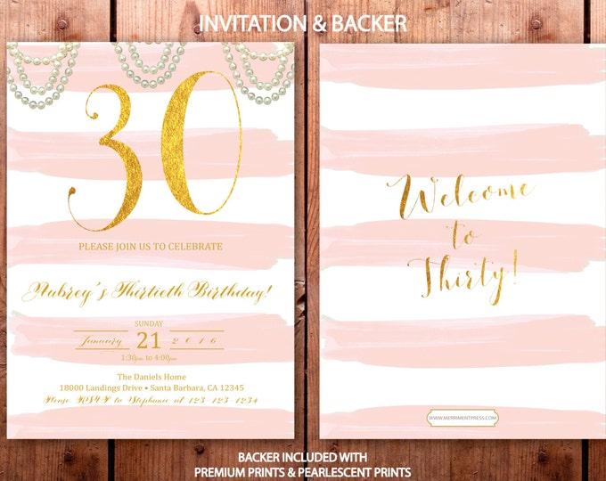 Pink and Gold Striped 30th Birthday Invitation Blush Pink and gold glitter Birthday Invitation Stripes Pearls Printed - SANTA BARBARA