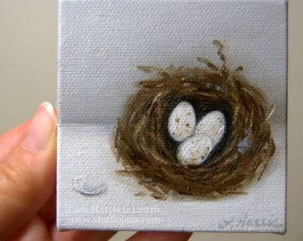 CUSTOM Mini Bird Nest Painting in OIL by Lara ACEO 3x3 Still Life Eggs