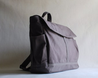 Etsy's 13th Birthday Sale 25% - Hugo, Grey/ Satchel / Rucksack / Travel Bag / Messenger backpack - School backpack/ Diaper bag