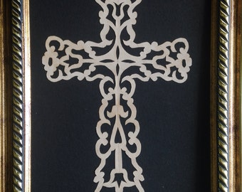 "PAPER CUT Floral Medium Cross, Original ART Handmade Scherenschnitte, fits 5x7"" frame"