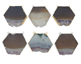 Amethyst Slice Hexagon Double Bail Pendant with Electroplated Edge (S118B1)