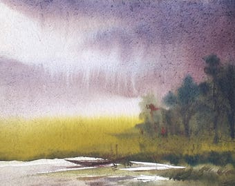 Monsoon Village - Original Watercolor Painting on Paper,watercolor,watercolor landscape,landscape