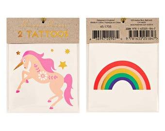Unicorn & Rainbow Tattoos, Temporary Tattoos, Fake Tattoos, Party Favors, Unicorn Birthday Party Decor, Girl Birthday, Gold Star Tattoo