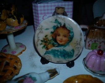 Dolls House miniature Victorian Christmas Girl ceramic plate