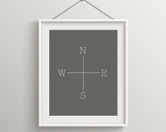 North South East West Print, Modern Art Print, Digital Print, Wall Art, Inspirational Quote