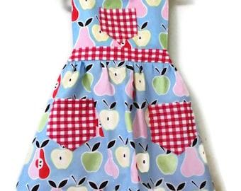 Children's Apron, Toddler apron, Fruit Apron, Girls Apron, Baking Apron, Cooking Apron, Kids Apron, Little Girls Apron, Blue Apron