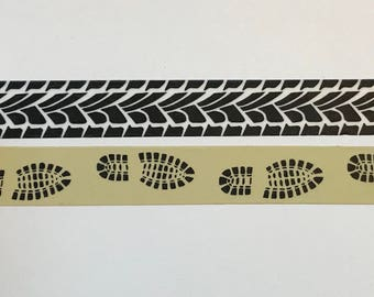 "Tire Tracks and Footprints Washi Tape 24"" Sample Set"