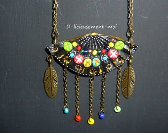 Ethnic Choker necklace metal chain bronzes range polymer clay hand painted feathers multicolored beads