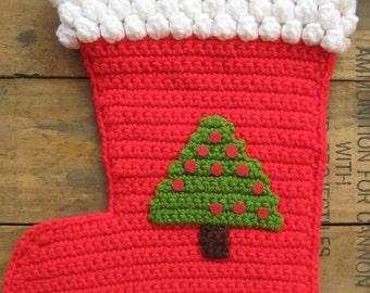 Vintage Crochet Christmas Stocking Tree Design