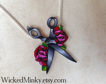 traditional tattoo blood red rose and scissors necklace sewing seamstress crafter diy