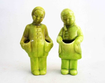 Vintage Mid Century Figural Chinese Bud Vases in Lime Green. Circa 1950's.