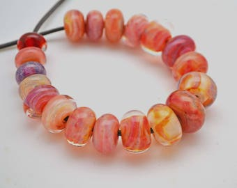 Lampwork Boro Beads Set of 19 Handmade Boro Borosilicate Glass Beads BebesGlassBeads Blushing