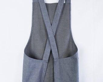 Cross Back Apron in Stripe Cotton; No Ties Apron