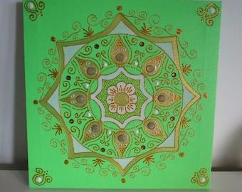 Mandala, Acrylic on canvas, 25x25cm