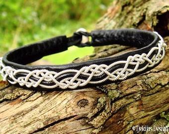 HUGINN Sami Viking Bracelet | Lapland Black Leather Bracelet with Pewter Braid and Antler Closure | Custom Handmade to Your Size and Color