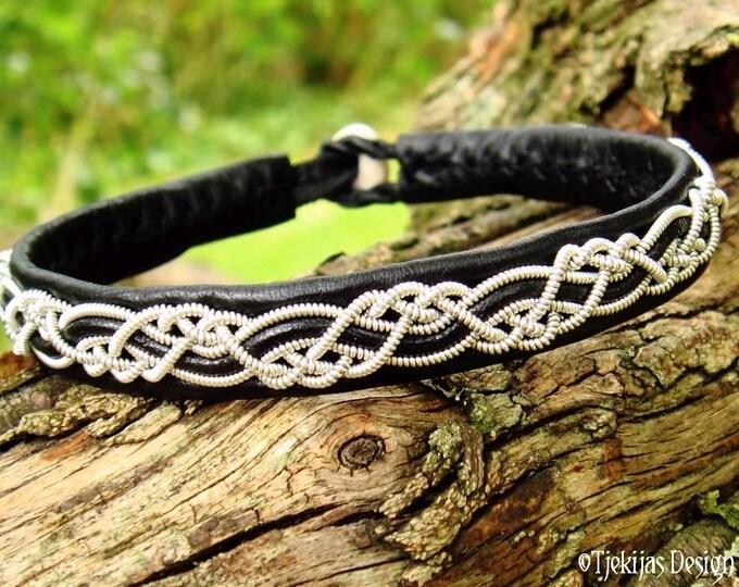 HUGINN Sami Viking Bracelet   Lapland Black Leather Bracelet with Pewter Braid and Antler Closure   Custom Handmade to Your Size and Color