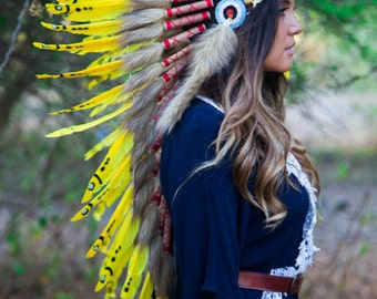 The Original - Real Feather Yellow Chief Indian Headdress Replica 90cm, Native American Style Costume Hand Made War Bonnet Hat