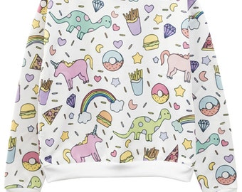 Unicorn Sweater Jumper Top T shirt Womens Ladies Girls Tumblr Kawaii Hipster Grunge Retro Vtg Indie Boho Swag Goth Full Print Rainbow Burger