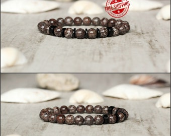 brown bracelet for man christmas gift for christmas jewelry for man birthday gift obsidian bracelet gem jewelry for him casual bracelet