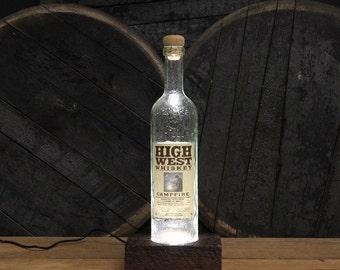 High West Campfire Bourbon Lamp LED Light / Reclaimed Wood Base Table Light / Handmade Desk Lamp / Upcycled Bourbon Bottle Lighting / Custom
