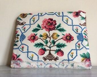Vintage Floral Purse, Floral Makeup Bag, Handmade Vintage, Mother's Day Gift