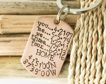 Personalized Key Chain,  Anniversary Gift, Gift for Husband, Gift for Dad from Son, Gift for Dad from Daughter