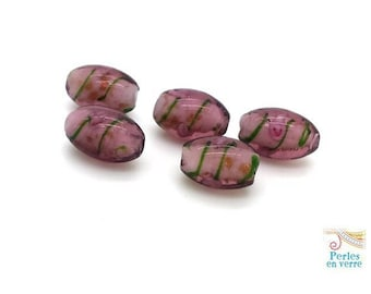 5 olives beads, Plum, pink and gold lampwork glass 10X16mm (pv183)