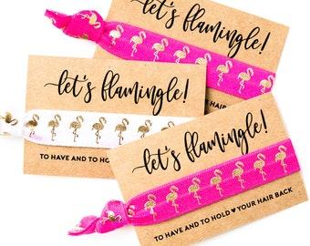 Let's Flamingle | Pink Flamingo Bachelorette Hair Tie Favor |  Hot Pink + Gold Flamingo Bachelorette Party Hair Tie Favors, Final Flamingle