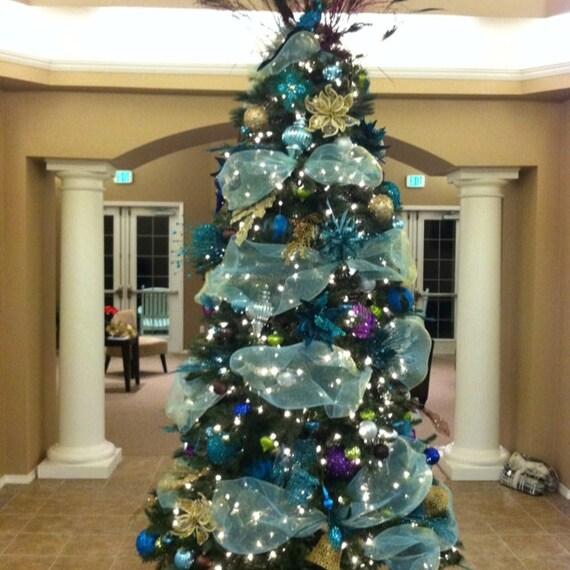 Xmas Tree Decorations With Ribbons: Christmas Aqua Blue Tulle Garland Ribbon Beach Tree Decor