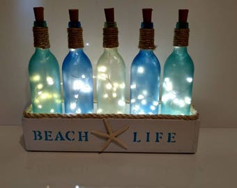 Wine Bottle Decor-Wine Gift-Wine Bottle Holder-Wine Bottles in Wooden Boxes-Beach House Decor-Wine Bottle Light Fixture