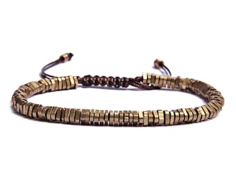 Jewelry for Men - Beaded Bracelet for Men - Brass Heishi beads with faux brown leather cord - sliding knot adjustable closure - for him