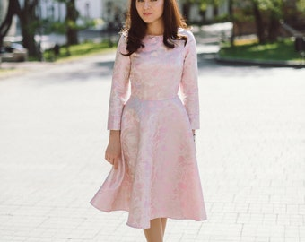 Midi brocade pink dress, holiday festive dress