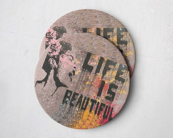 Banksy Drink Coasters – Absorbent Coaster Set of 10 – Coasters for Women & Men – Heavyweight Reusable Thick Pulpboard - Life is Beautiful