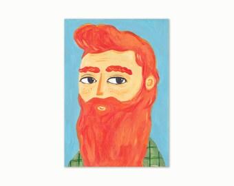 A4 Giclee Art Print - Ginger Beard