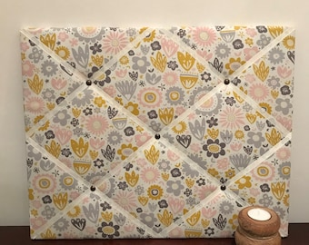 Blue pink and yellow patterned fabric memo board 40cm x 50cm notice board