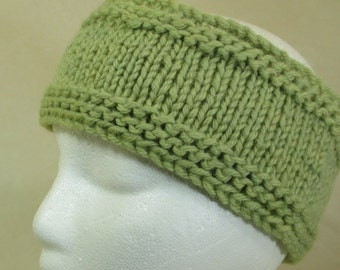 Hand-Knit Ski Headband - 100% Wool - Natural Dye - Local Color Eco Fashion - WB3161155 - Adult Large