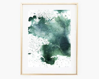 Green Watercolor Prints, Printable Watercolor Art,Abstract Watercolor Print,Printable Watercolor Wall Art, Instant Download Art,Abstract Art